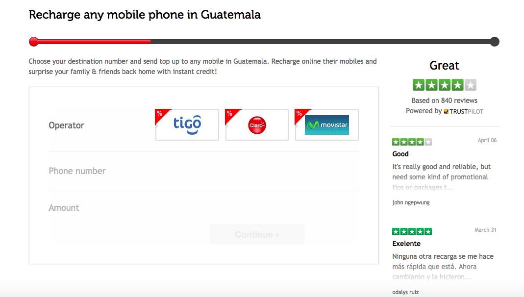 top up a mobile in Guatemala