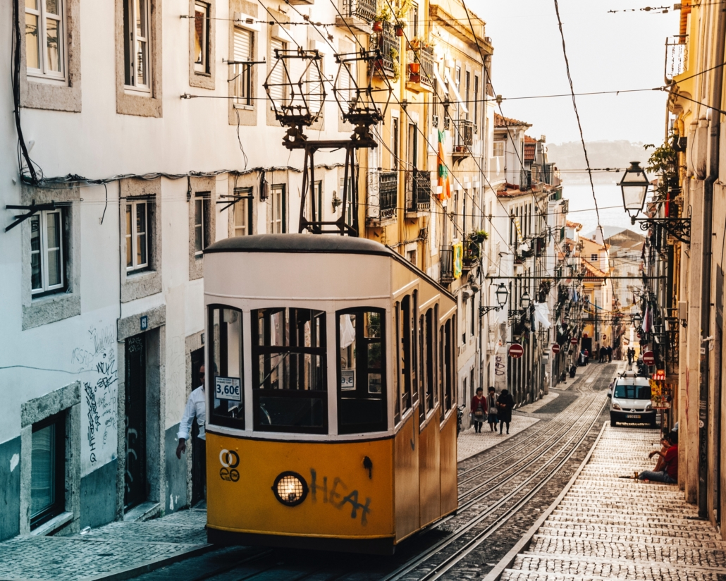 Portugal urban scene with tram, a welcoming place for the diaspora