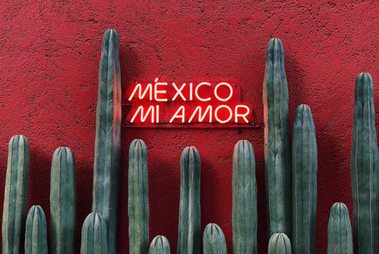 mexico mi amor text on a wall