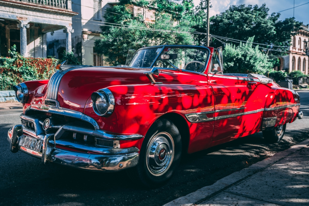 old school red car in Cuba